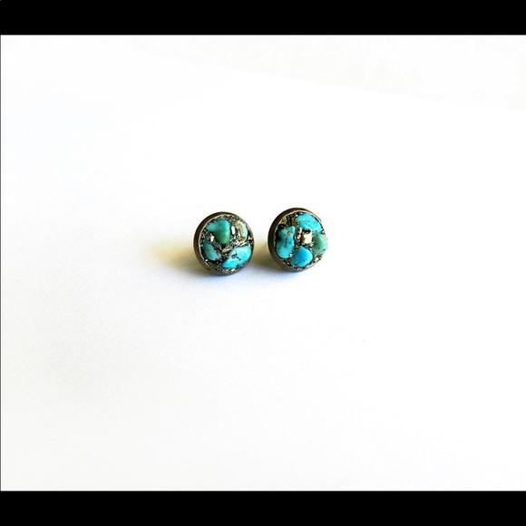 Turquoise & Fool's Gold brass earrings